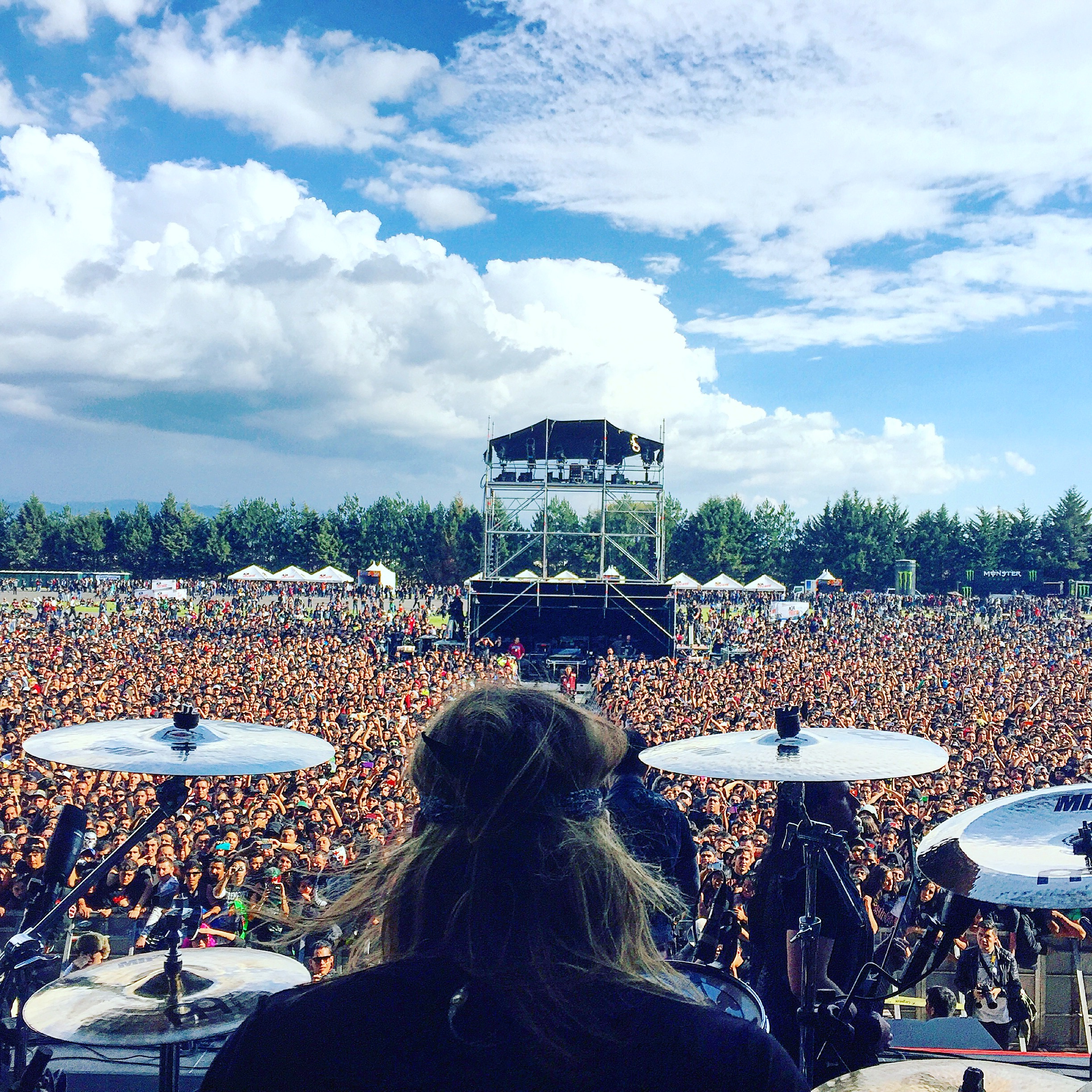 Trivium drummer Paul Wantdke's view as he looks out over a crowd of 40K+ plus metal heads at the Knotfest in Mexico. December 5th, 2015.